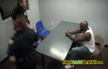 Black stud is getting some wet pussies to fuck in this interrogation room!