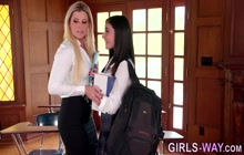 Lesbian teen and milfs in threesome