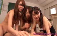 Lucky guy with 3 Japanese schoolgirls